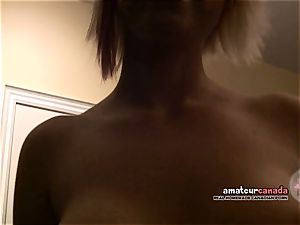 big-titted goth girlfriend takes dare for lapdance and blowage