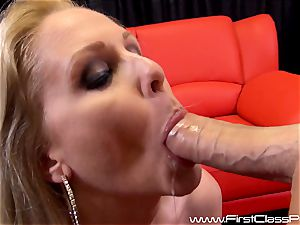 horny cunny pot cougar Julia Ann deep throating on a immense manstick and getting a huge stream to her knockers