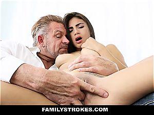 youthfull Latina sandwiched by stepfather and stepbro