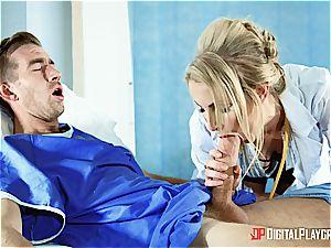 super-hot blonde nurse gets a meaty facial cumshot by a patient
