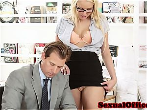 hottie assistant takes her boss' man sausage for a ride