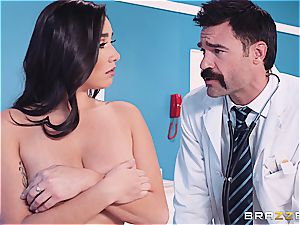 doctor handles her significantly hefty jugs with respect