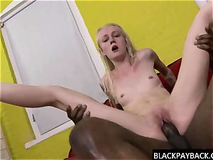 bbc stretches a thin light-haired s pussy