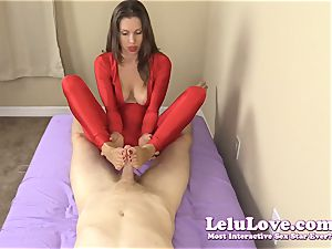 dressed nymph gives you hand job and footjob