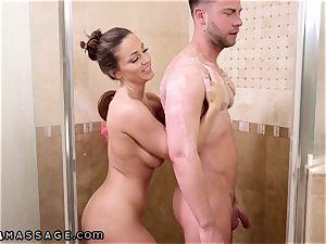 NuruMassage Abigail Mac begs Step-Bro to Get in shower