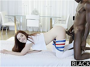 BLACKED Nerdy Ember Stone Takes Her first black man meat