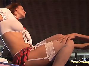girl-on-girl pornography hump in public