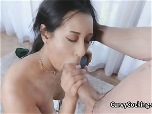 bodacious oiled Latina enjoys thick penis in her facehole