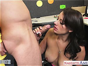 dark-haired Kayla West take pipe in the office