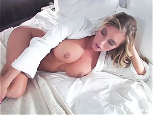 ash-blonde hotty Samantha gets poked in couch