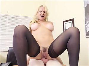 chesty platinum-blonde chief Sarah Vandella seduces young employee