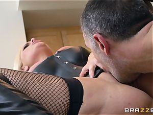 dominating Alena Croft humps her slave in the kitchen
