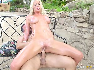 platinum-blonde Riley Jenners oily outdoor plowing