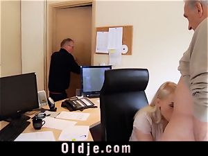 young assistant screws elderly prick blowage hatch jizz shot