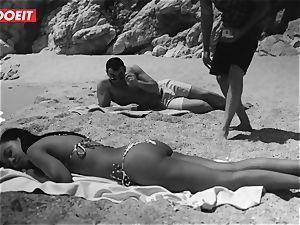 LETSDOEIT - torrid ebony teenager plumbed rigid At The Beach