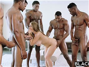 BLACKED Lena Paul very first interracial group sex