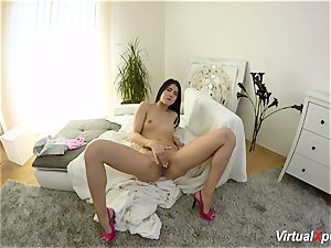 unshaved buxom Angel Wicky on cam
