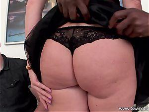 ash-blonde German Swinger wifey bangs big black cock