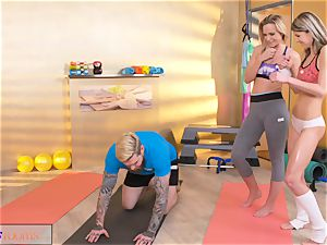fitness apartments insatiable chicks entice hefty shaft gym trainer